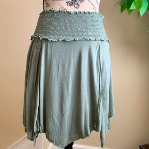 Free People Layered Angled Mini Skirt Green Sz S